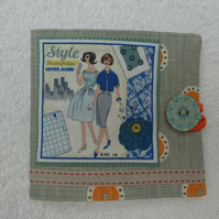 Sewing Needle Case with Sewing Pattern Panel. Blue.