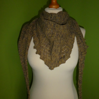 Sideways Knit Drop-stitch Scarf in mustard colour.