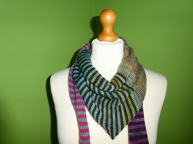 Striped Scarf in Mulicolours with Black and Grey. Colour Gradient Scarf.