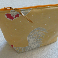 Cockerel Print Project Holder. Lined Purse. Zipped Holdall. Hen Print Fabric.