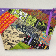 Project Holder in Crazy Patchwork. Lined Purse. Zipped Holdall. Striped Lining