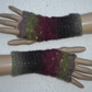 Crochet Fingerless Gloves Wrist Warmers in Double Knit Yarn Lilac and Pale Green