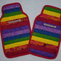 Patchwork Hot Water Bottle Cover.  Rainbow with Red Trim.