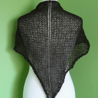 Shawl Triangular Scarf  in Dark Brown Colour. Tuck Lace Pattern in 2 ply Yarn