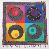 Quilt Wall hanging. Circles Quilt with beaded Trim.