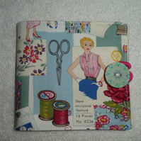 Sewing Needle Case in Sewing Pattern  Cotton Fabric