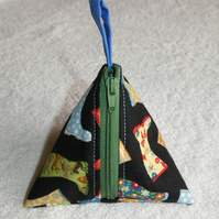 Stitch Marker Holder. Mini Pyramid Purse. Sewing Notions Holder. Wellies