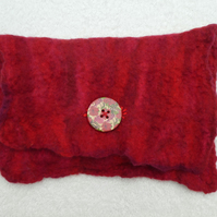 Handmade Felt Purse. Wet Felted Purse In Red Merino.