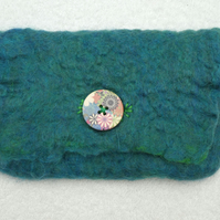 Handmade Felt Purse. Wet Felted Purse In Teal and Green Merino.