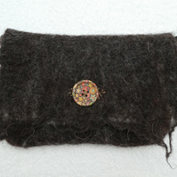 Handmade Felt Purse. Wet Felted Purse In Natural Fibers and Natural Colours