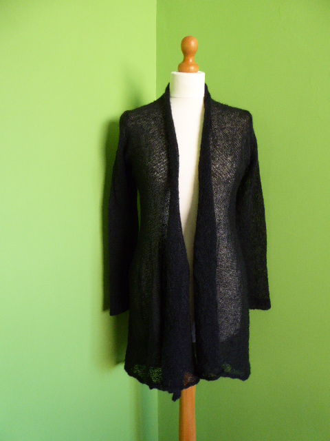 Mohair Cardigan in Black. Womens approx size medium. Flare Top
