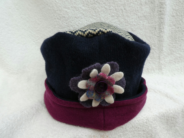 Wool Hat Created from Up-cycled Sweaters. Zig Zag Crown