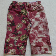 Silk Mid Length Multi Patterned Trousers Elasticated Waist. Ladies S-M. Burgungy