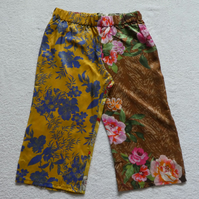 Silk Mid Length Multi Patterned Trousers Elasticated Waist. Ladies S-M. Gold