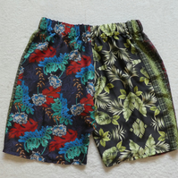 Silk Multi Patterned Shorts.  Elasticated Waist. Ladies S-M.
