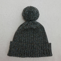 Ribbed Bobble Hat in Blue Tweed 4 ply Wool  with Large Pompom.