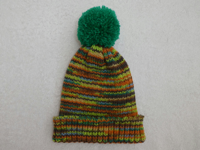 Ribbed Bobble Hat in Orange Brown and Green 4 ply yarn with Large Pompom.
