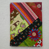 Notebook. A5 size. Lined Notepad with Quilted Crazy Patchwork Cover. Greens