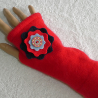 Fingerless Gloves Wrist warmers. Upcycled gloves. Red with Felt Flower