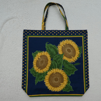 Sunflower Bag. Shopping Tote. Fully Lined with Inside Pocket.