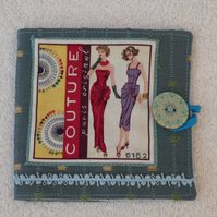 Sewing Needle Case with Sewing Couture Pattern Panel. Blue. Blue lining.