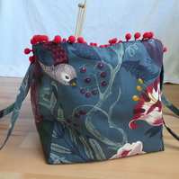 Project Bag with Pom Pom Trim. Grey Flowers Bag. Project Holdall