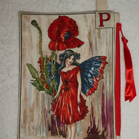 Flower Fairy Print Pixie Purse. P. Poppy.  Flower Alphabet Fairy. Purse.
