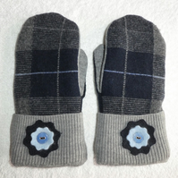 Mittens Created from Recycled Wool Jumpers. Fully Lined. Tartan Grey Cuff