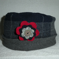 Wool Hat Created from Up-cycled Sweaters. Tartan and Grey with red Flower Pin