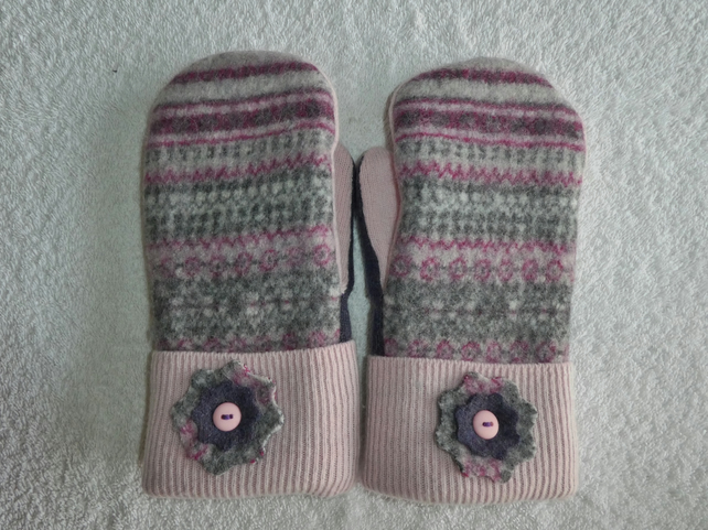 Mittens Created from Recycled Wool Jumpers. Fully Lined. Fair Isle Pink Cuff