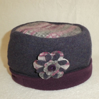 Wool Hat Created from Up-cycled Sweaters. Fair Isle Crown. Purple Hat.Flower Pin