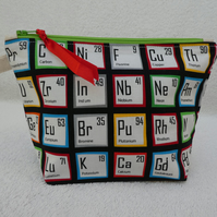 Periodic Table Elements Print Zipped Pouch. Lined with Gusset and Zip Pull.