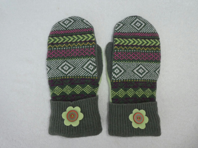 Mittens Created from Up-cycled Wool Jumpers.Fully Lined. Fair Isle. Green Thumb