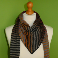 Striped Scarf in Mulicolours with Black and Grey. Colour Gradient Scarf.EdgeTrim
