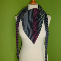 Striped Scarf in Mulicolours with Black and Grey. Colour Gradient Scarf. No 3