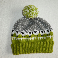 Sheep Bobble Hat with Pompom. Green Field Sheep Hat. Snowy Sheep Bobble Hat