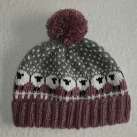 Sheep Bobble Hat with Pompom. Sheep in Heather Hat. Snowy Sheep Bobble Hat