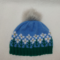 Flower Hat. Hat with Faux Fur Pom Pom. Knitting Pattern. PDF Knitting Pattern