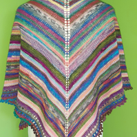 Stash Buster 4 ply Shawl Pattern. Knitting Pattern. PDF Knitting Pattern