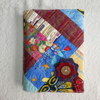 Notebook. A5 size. Lined Notepad with Quilted Crazy Patchwork Cover. FairyFabric