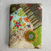 Notebook. A5 size. Lined Notepad with Quilted Crazy Patchwork Cover. Greens.