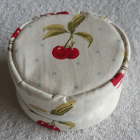 Cherry Print Round Zipped Purse.  Round Holdall. Circle Purse