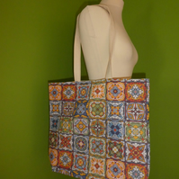 Moroccan Tiles Print Bag. Shopping Tote. Beach Bag. Lined with Inside Pocket.
