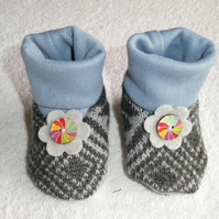 Baby Booties From Upcycled Wool Jumpers age 3 - 6 months. Pale Blue Cuff