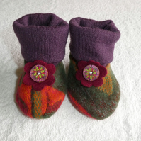 Baby Booties From Upcycled Wool Jumpers age 3 - 6 months. Orange and Green