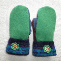 Mittens Created from Up-cycled Wool Jumpers.Fully Lined. Mohair Cuff