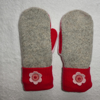 Mittens Created from Up-cycled Wool Jumpers.Fully Lined. Oatmeal. Red Cuff.