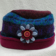 Wool Hat Created from Up-cycled Sweaters. Mohair Hat.Flower Pin