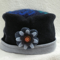 Wool Hat Created from Up-cycled Sweaters. Mohair Crown. Ladies Hat. Flower Pin