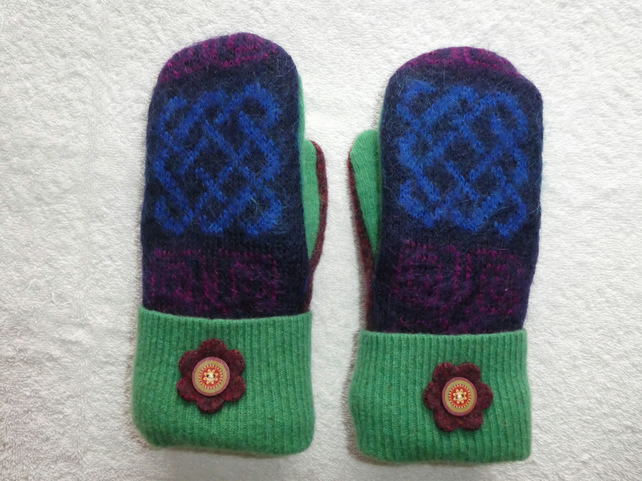 Mittens Created from Up-cycled Wool Jumpers.Fully Lined. Mohair back Green Cuff